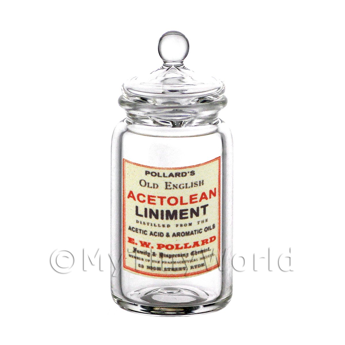 Dolls House Miniature Acetolean Liniment Glass Apothecary Storage Jar