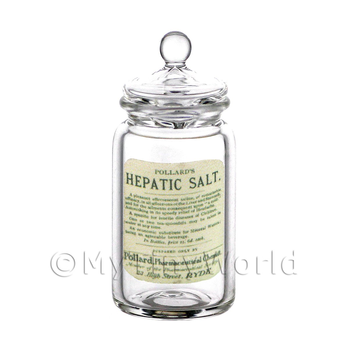 Dolls House Miniature Hepatic Salt Glass Apothecary Storage Jar