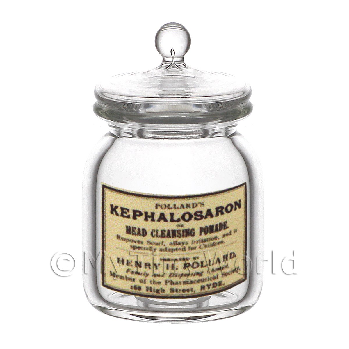 Dolls House Miniature Kephalosaron Glass Apothecary Storage Jar