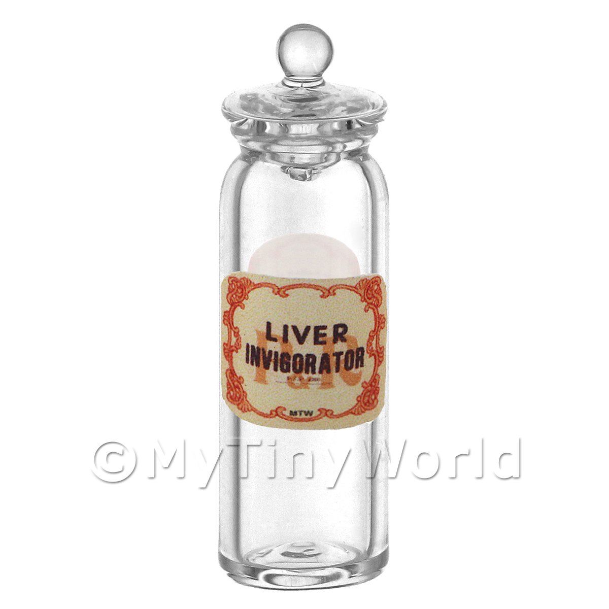 Miniature Liver Invigorator Glass Apothecary Jar