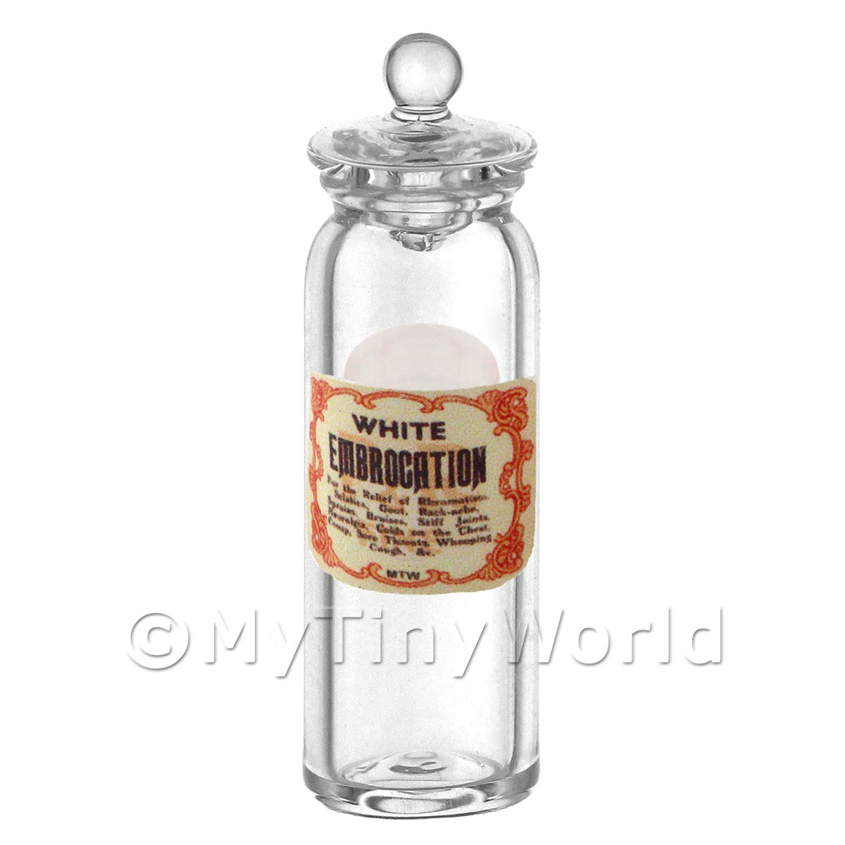 Miniature White Embrocation Glass Apothecary Jar