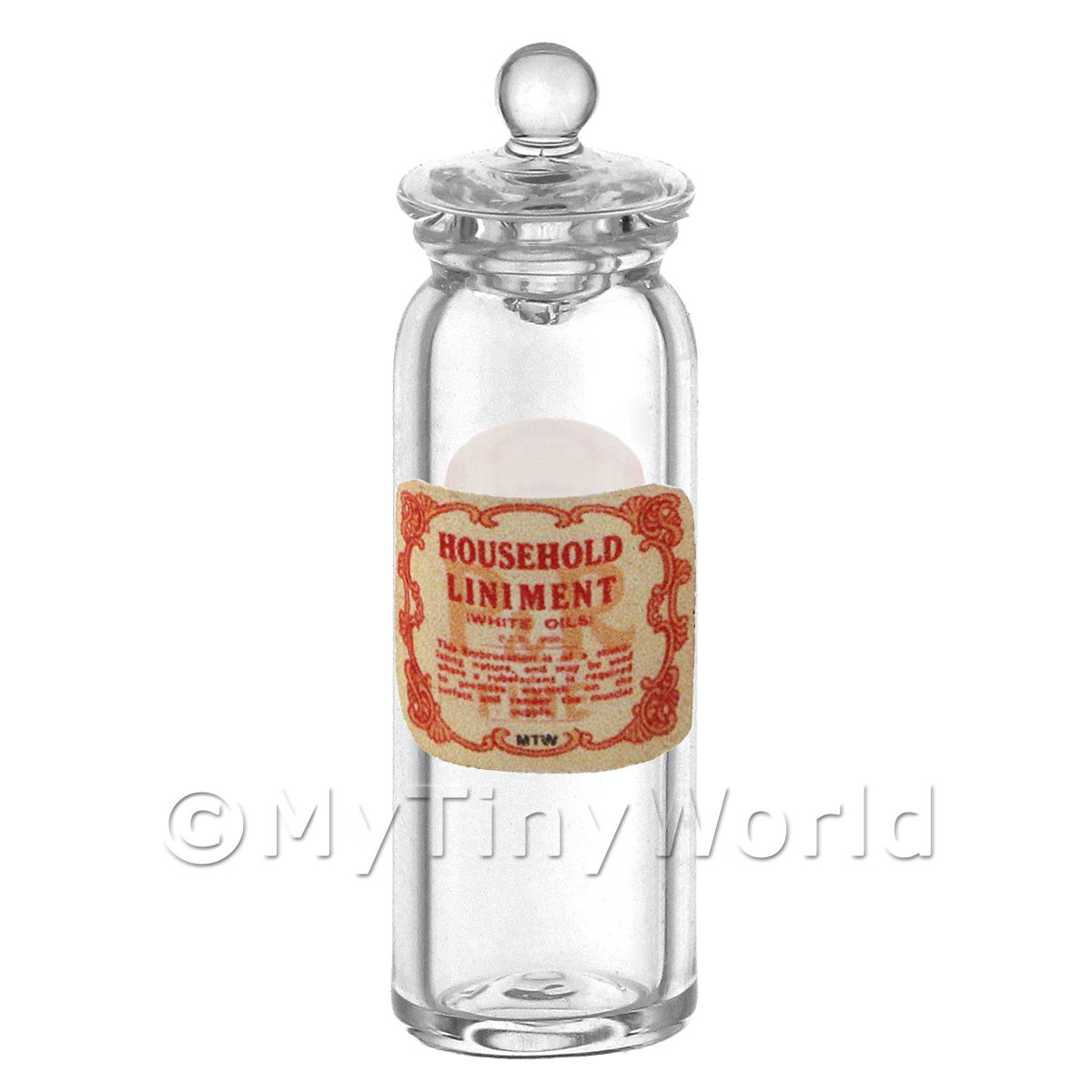 Miniature Household Liniment (White Oil) Glass Apothecary Jar