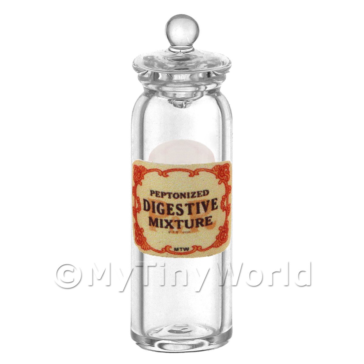 Miniature Peptonized Digestive Mixture Glass Apothecary Jar