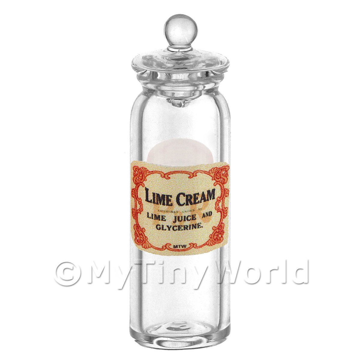 Dolls House Miniature Lime Cream Glass Apothecary Jar