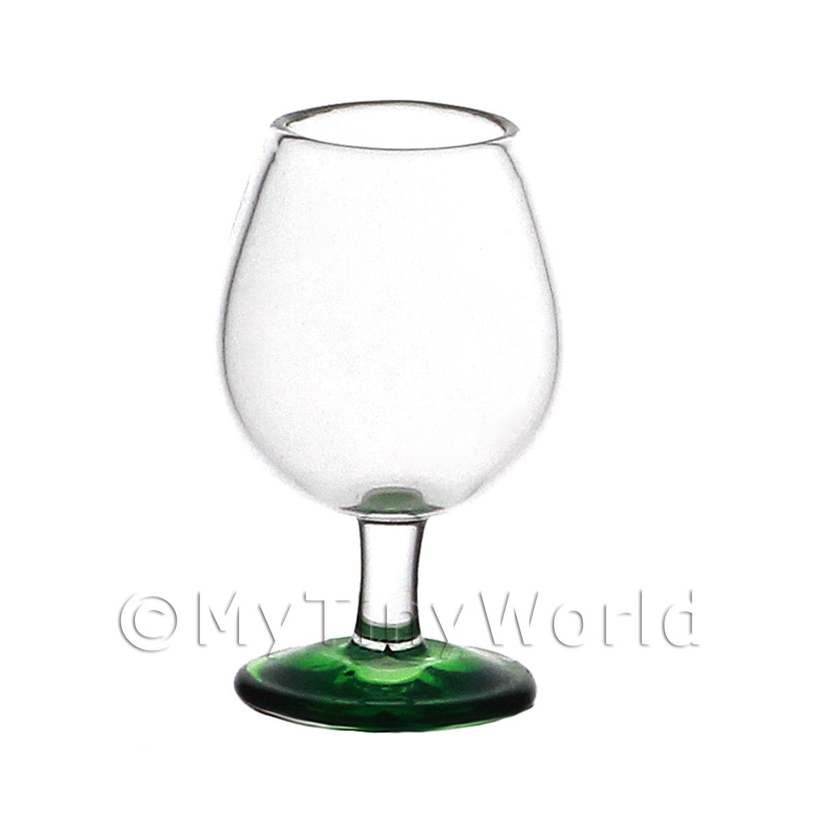 Dolls House Miniature Handmade Green Base Brandy  Glass