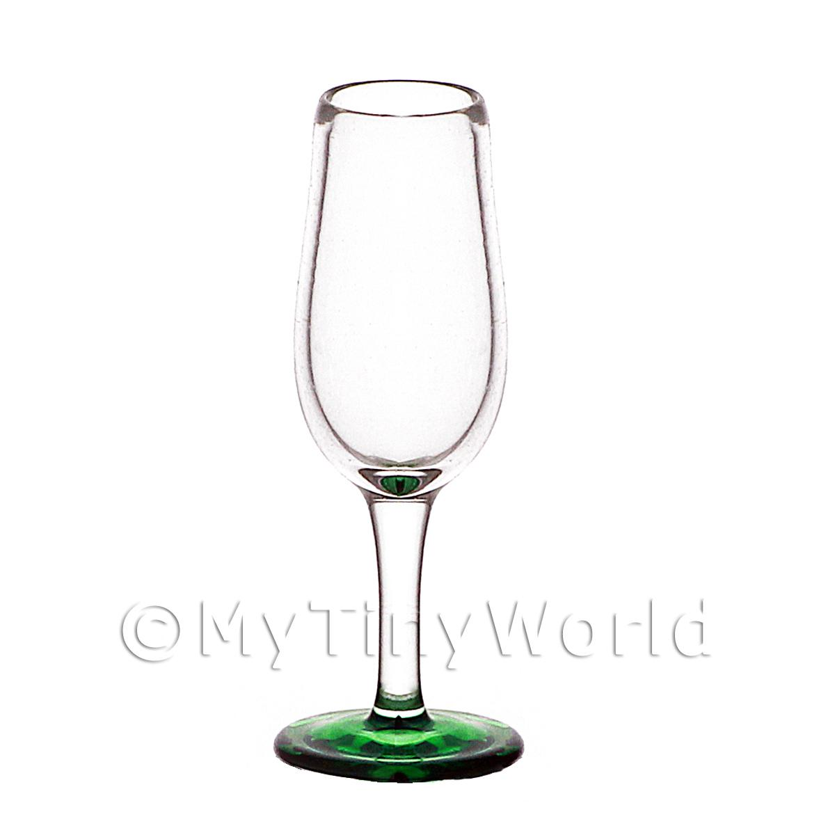 Dolls House Miniature Handmade Narrow Neck Green Based Wine Glass
