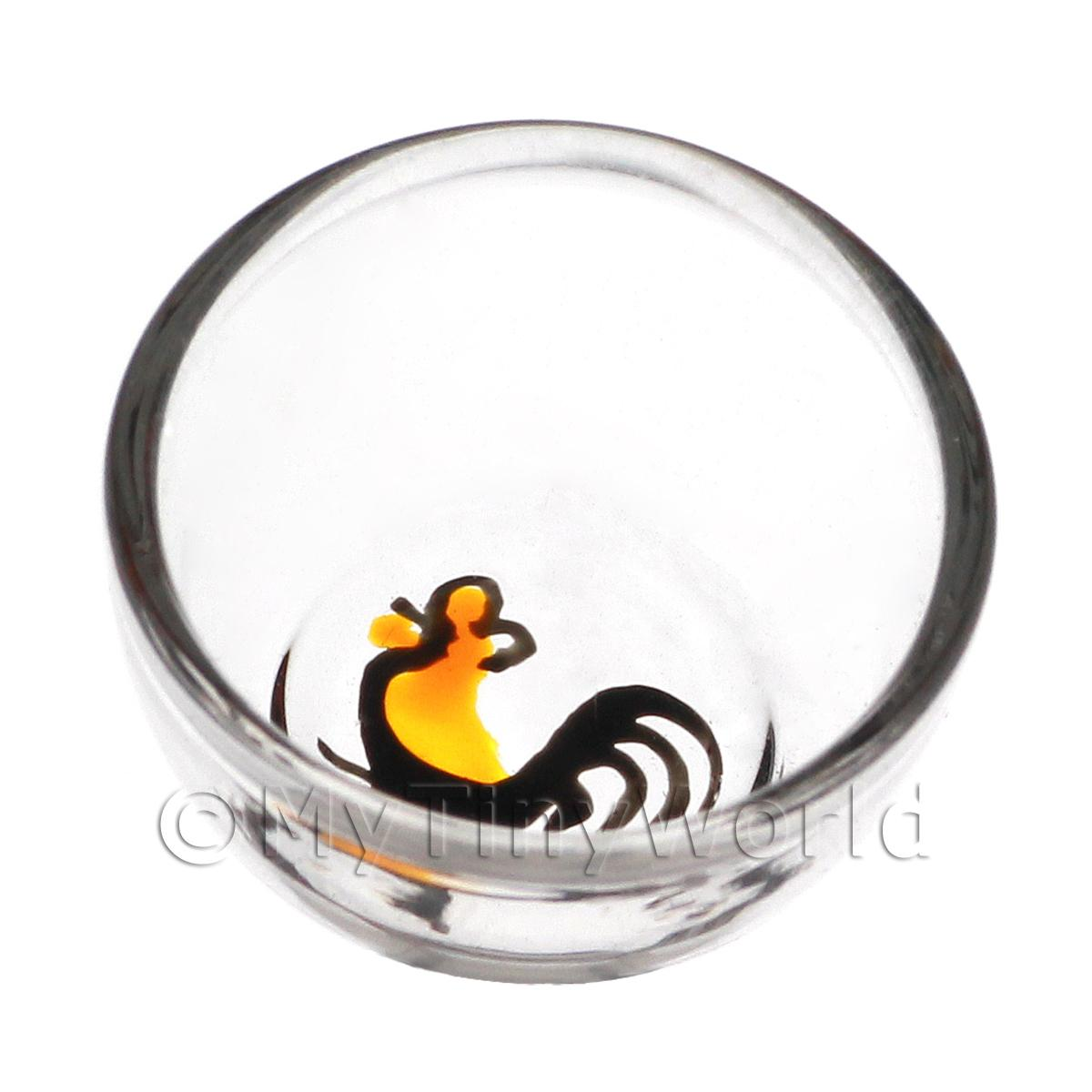Dolls House Miniature Handmade Glass Rooster Mixing Bowl