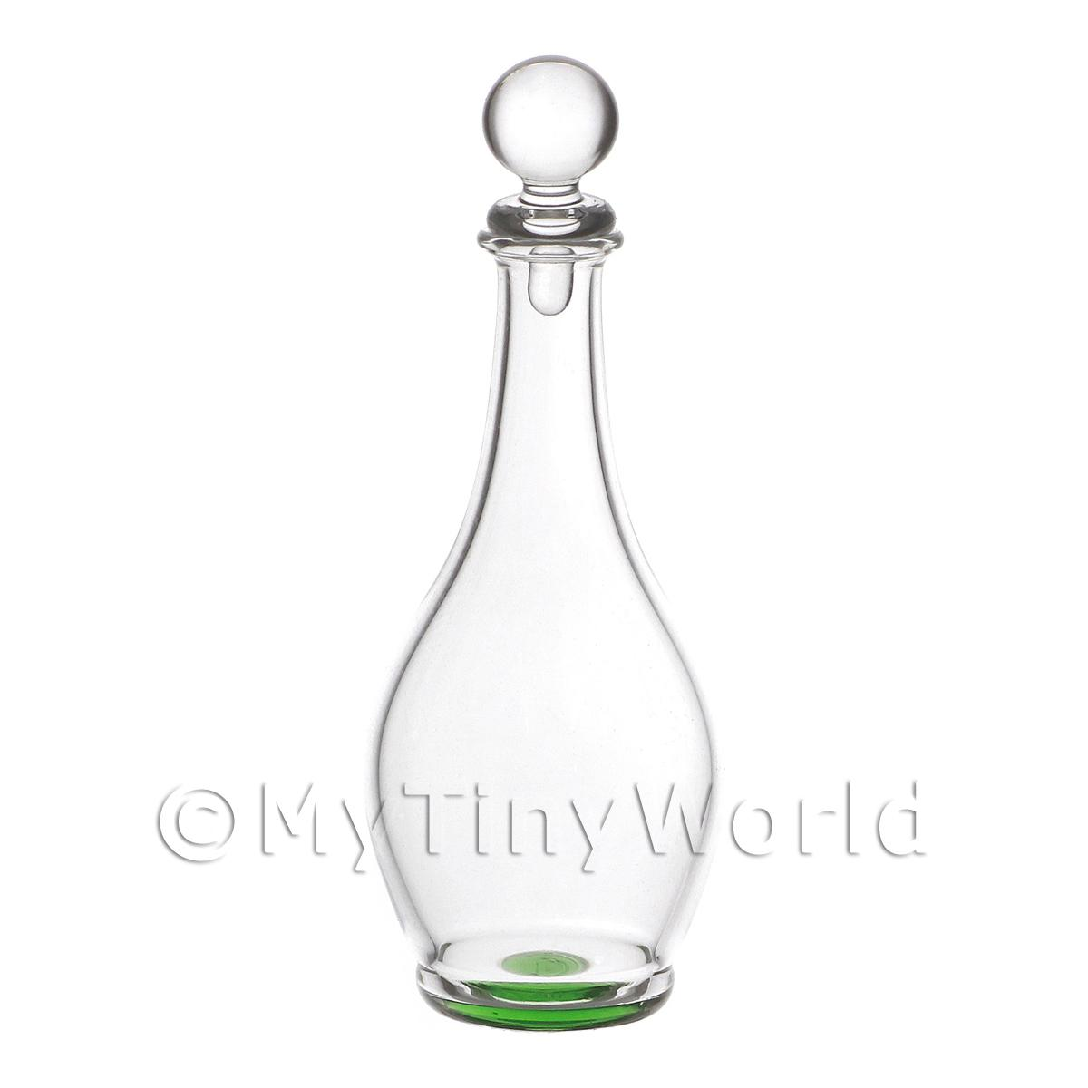 Dolls House Miniature Handmade Green Base Curved Glass Decanter