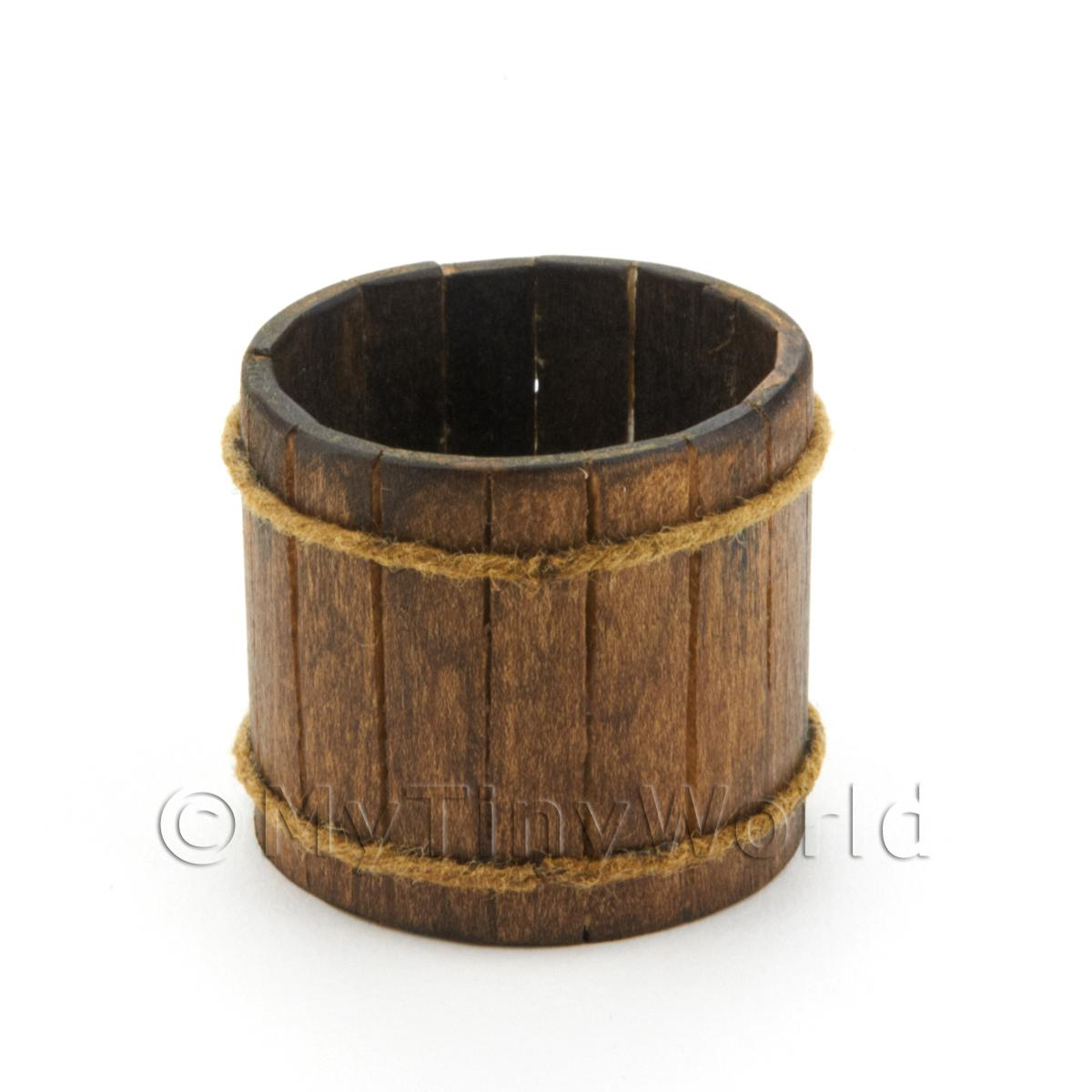 Individual Slatted Handmade Dolls House Miniature Log Tub