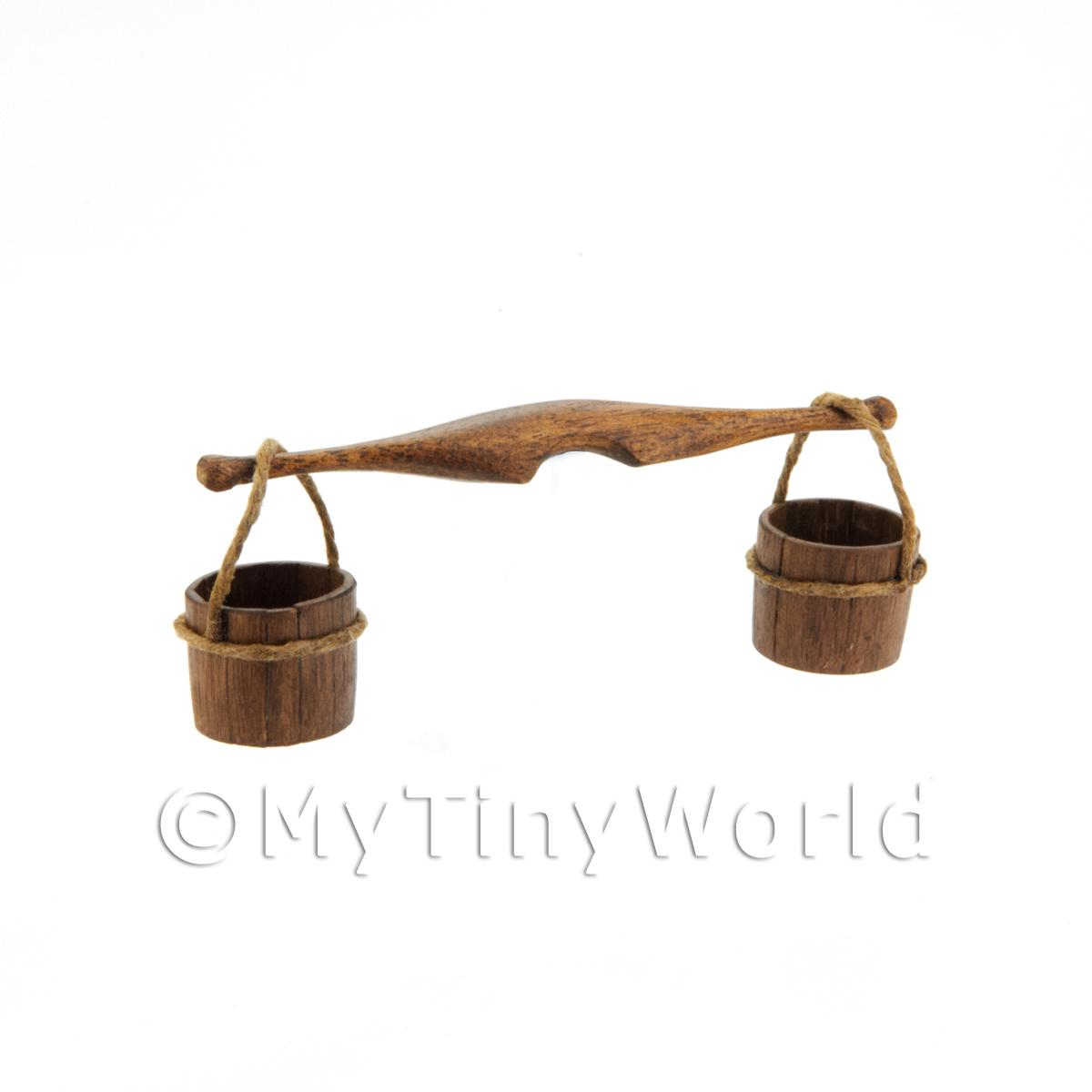 Dolls House Miniature Handmade Tudor Yoke And Buckets