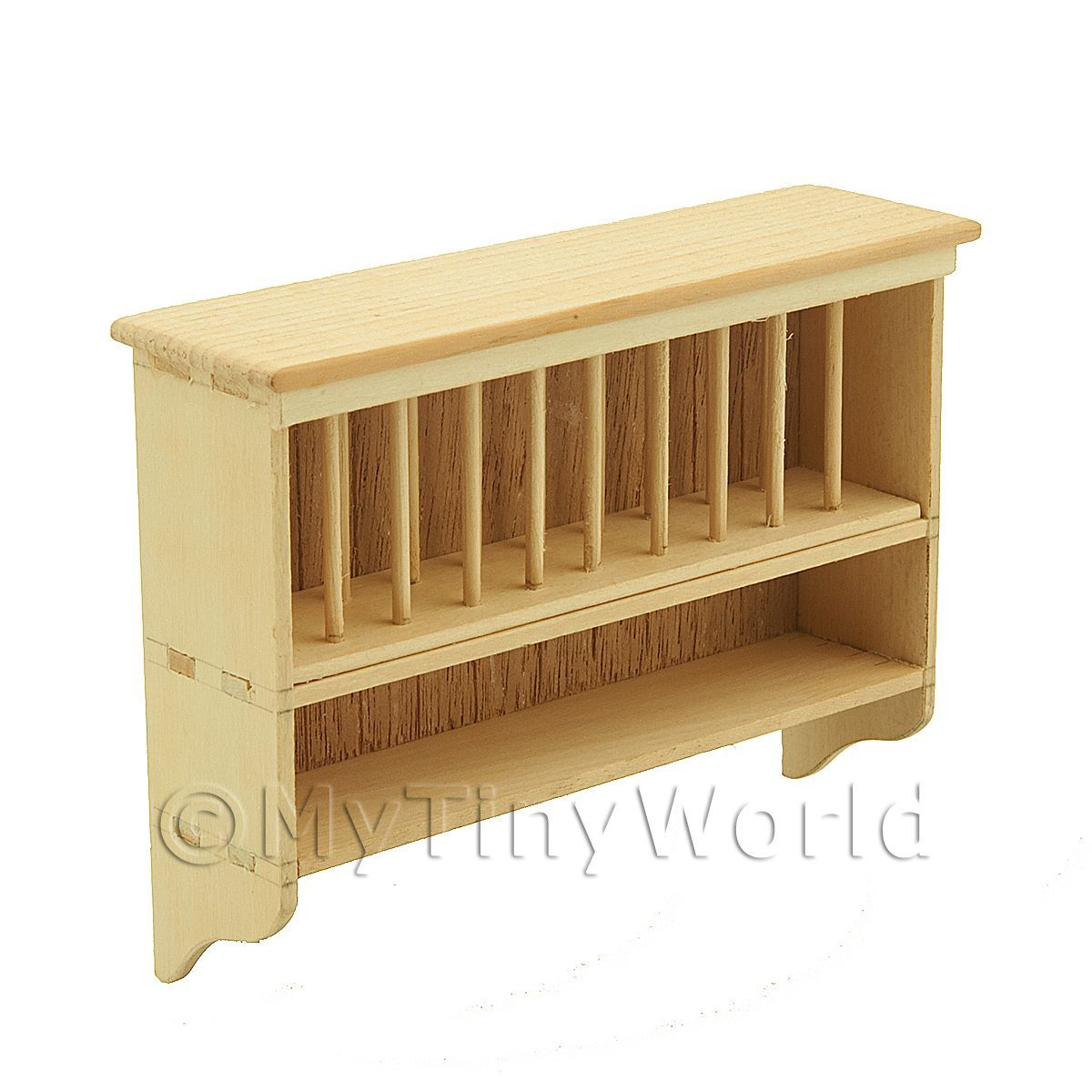 Dolls House Miniature Handmade Untreated Wall Hanging Plate Rack