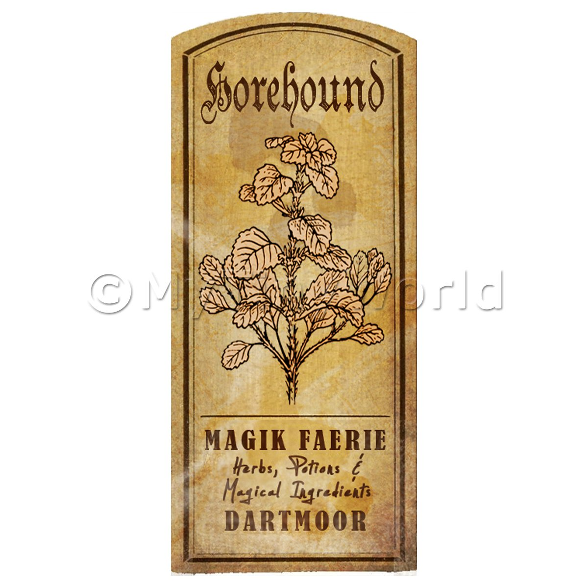 Dolls House Herbalist/Apothecary Horehound Herb Short Sepia Label