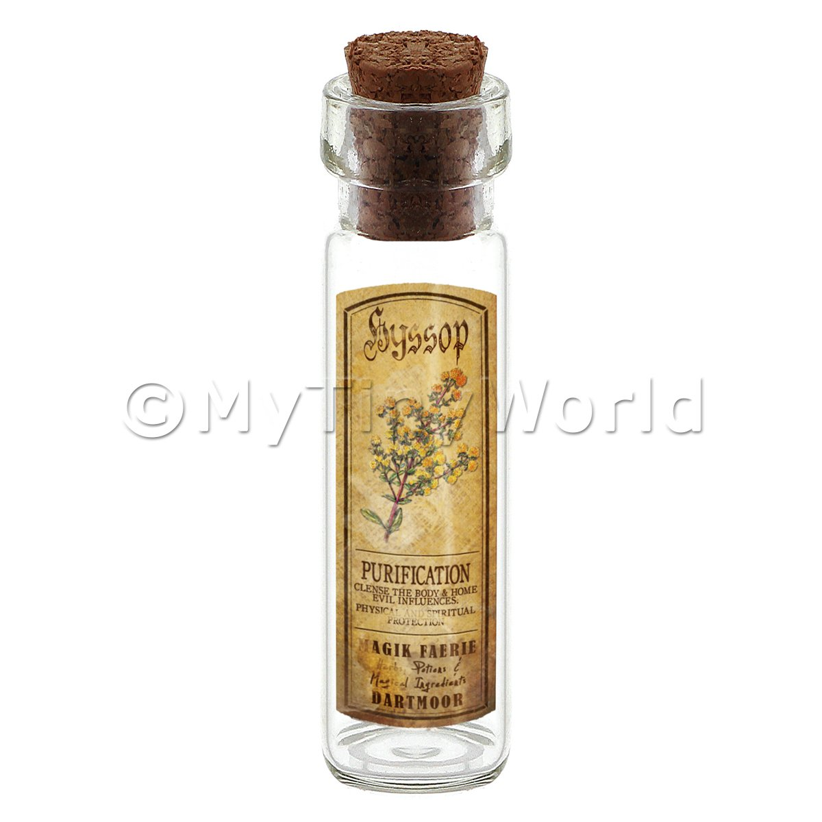 Dolls House Apothecary Hyssop Herb Long Colour Label And Bottle