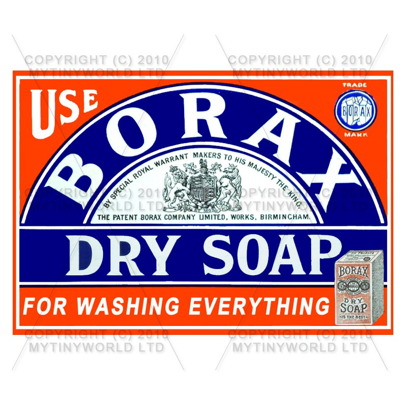 Dolls House Miniature Borax Dry Soap Shop Sign Circa 1890