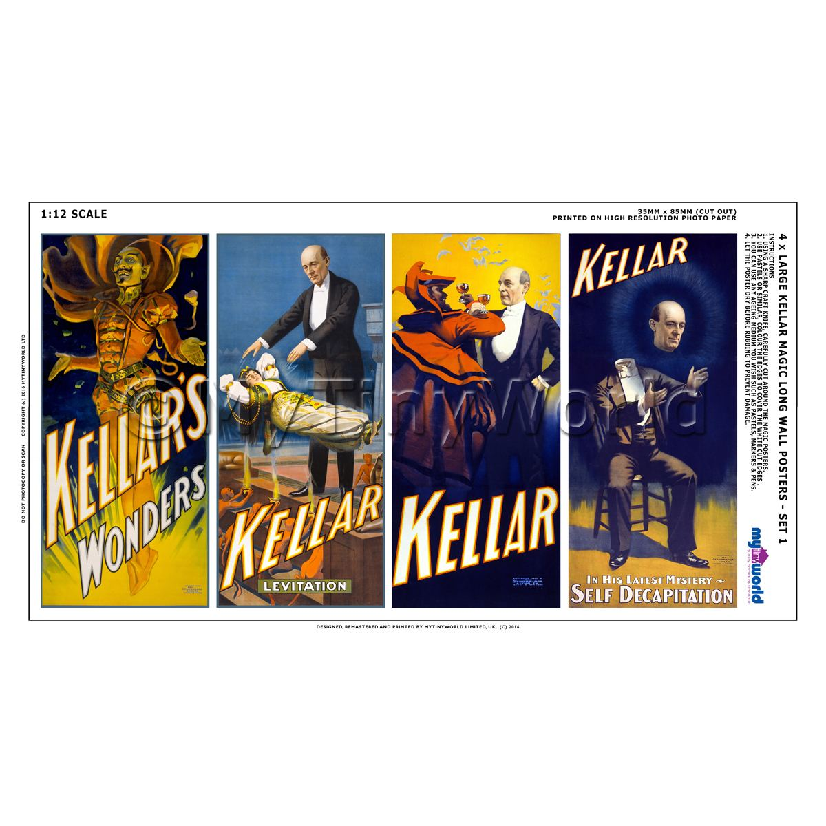Dolls House Miniature Kellar Magic Poster - Set of 4 Long Posters