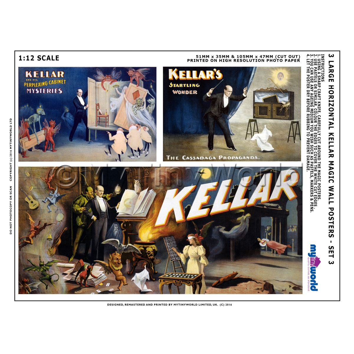 Dolls House Miniature Kellar Magic Poster Set 3 - Set of 3 Long Posters