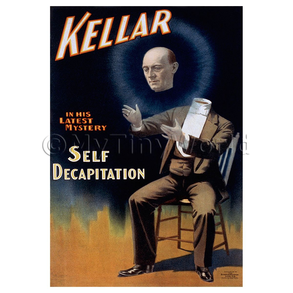 Dolls House Miniature Kellar Magic Poster - Short Latest Mystery