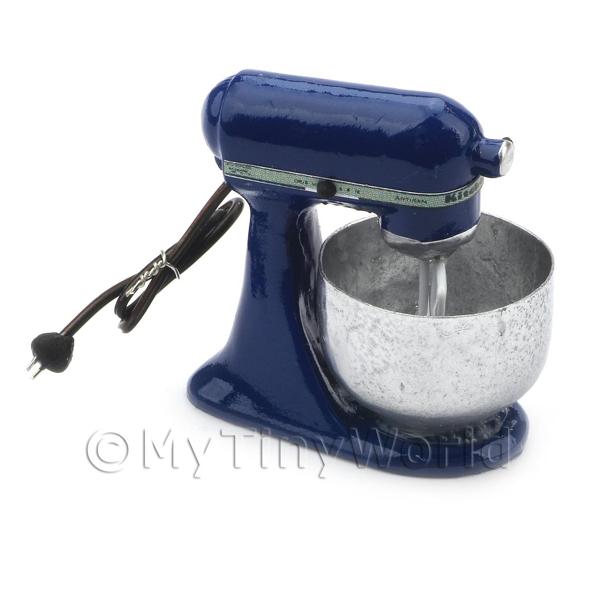 Navy Blue Dolls House Miniature Old Style Batter / Dough Mixer