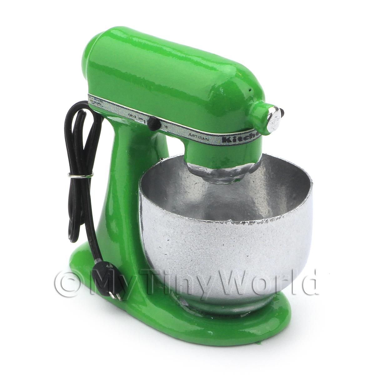 Green Dolls House Miniature Old Style Batter / Dough Mixer