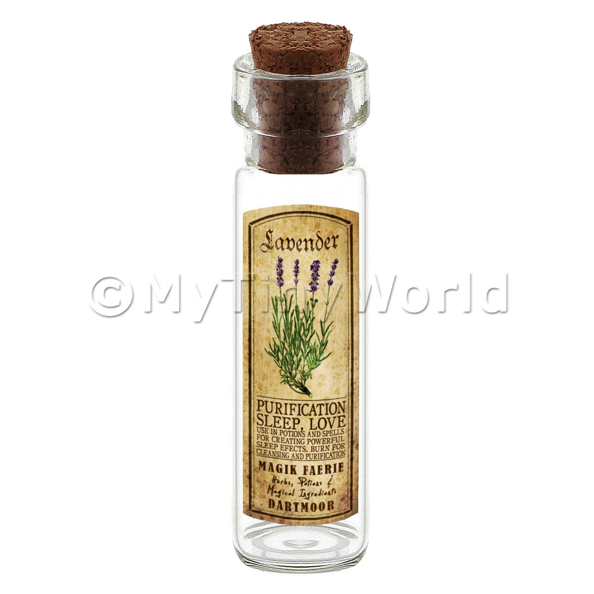 Dolls House Apothecary Lavender Herb Long Colour Label And Bottle