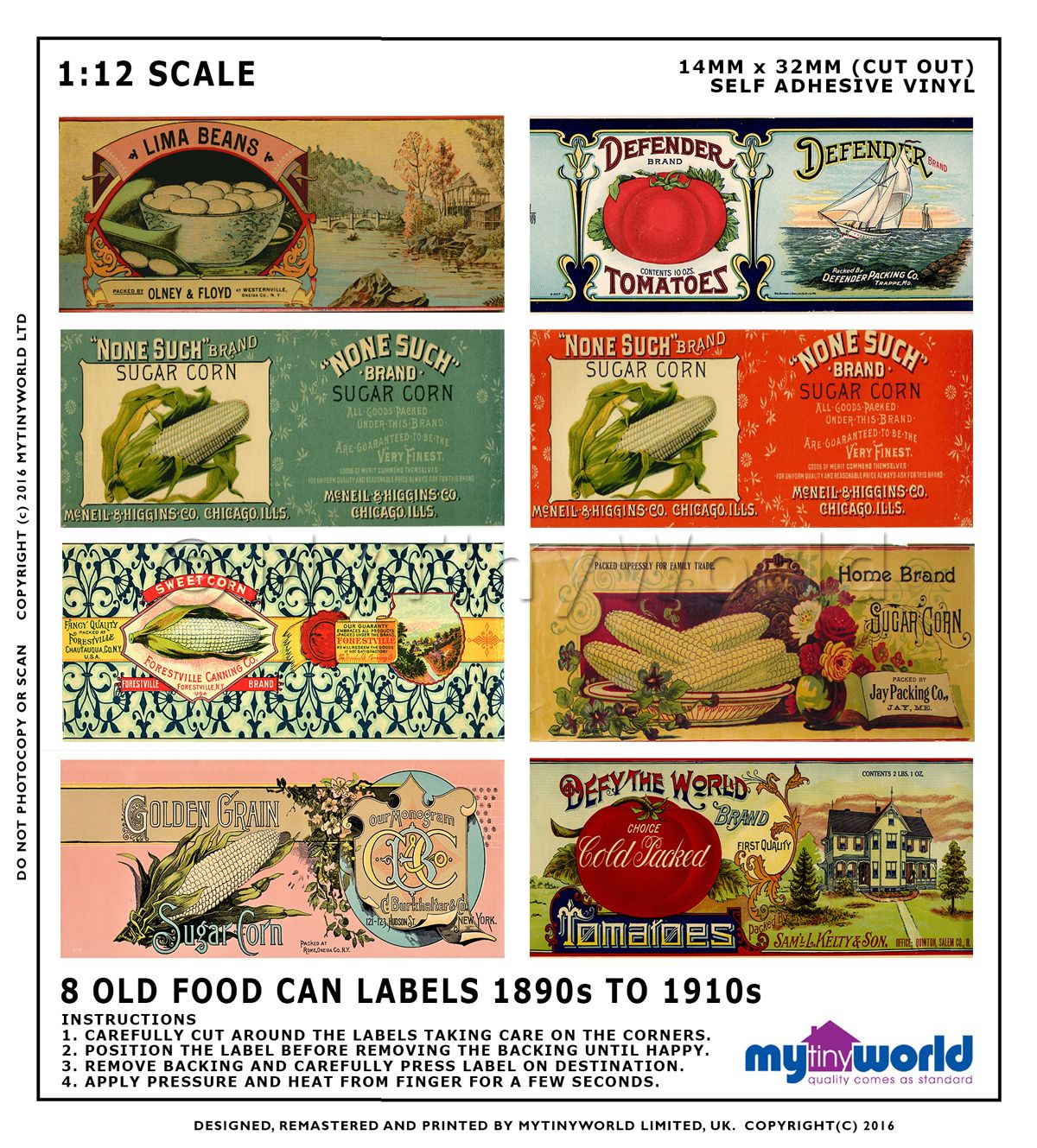 Set Of 8 Dolls House Miniature Mixed Food Labels (1890s-1930s)