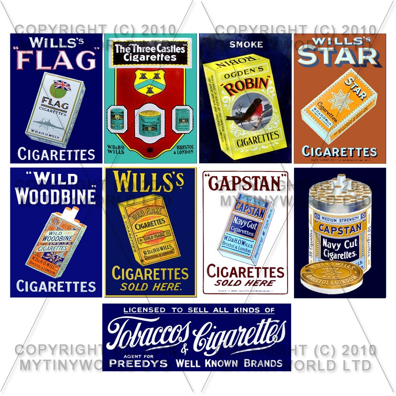 Set of 9 Dolls House  Miniature Cigarette Shop Signs Circa 1900-30