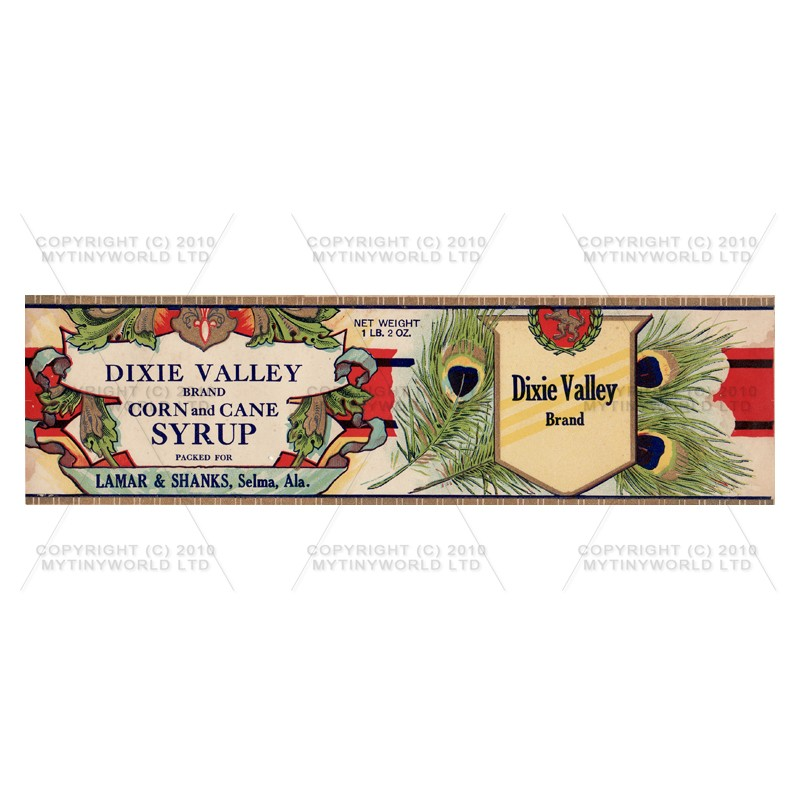 Dolls House Miniature Dixie Valley Syrup Label (1890s)