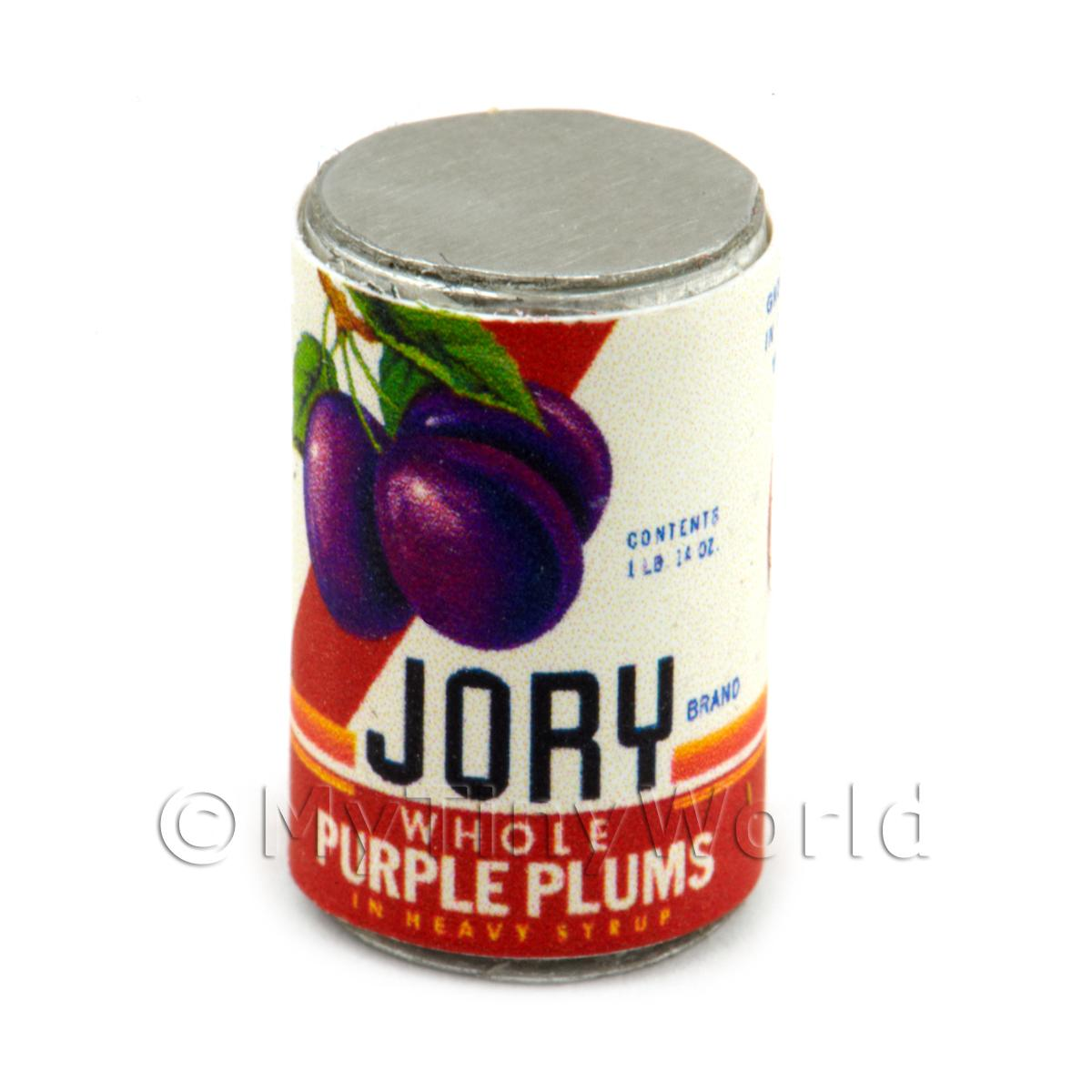 Dolls House Miniature Jory Brand Whole Plums Can (1930s)