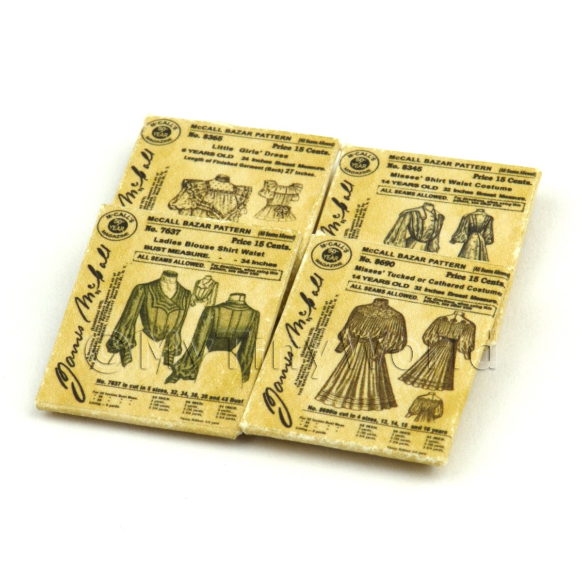 4 Dolls House Miniature Victorian Dress Pattern Packets (VDPS01)