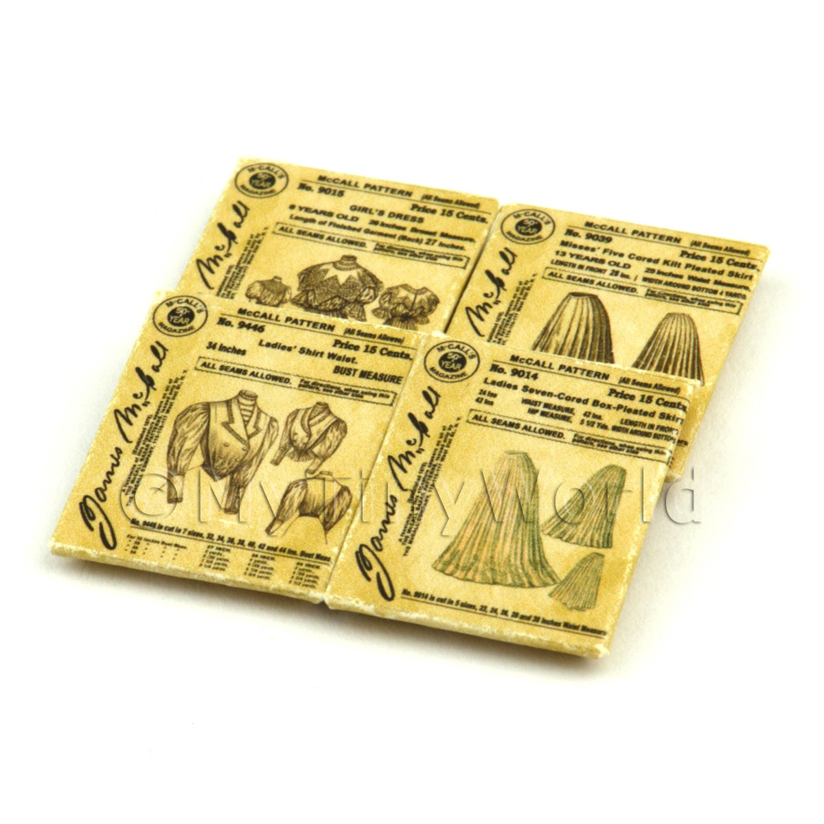 4 Dolls House Miniature Victorian Dress Pattern Packets (VDPS02)