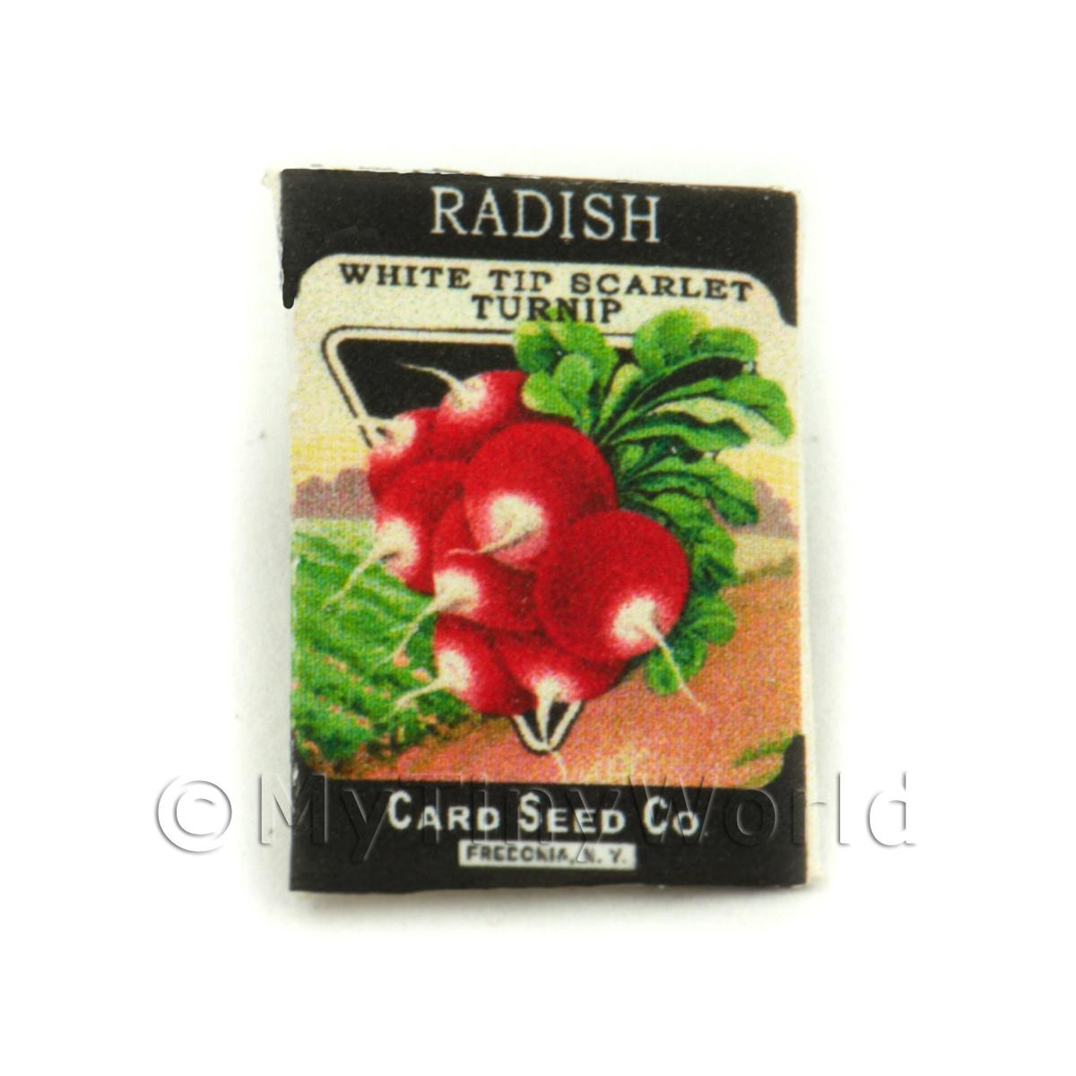 Dolls House Miniature Garden White Tip Radish Seed Packet