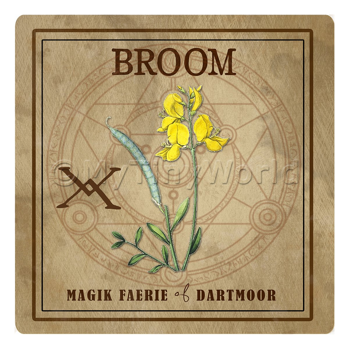 Dolls House Herbalist/Apothecary Square Broom Herb Label