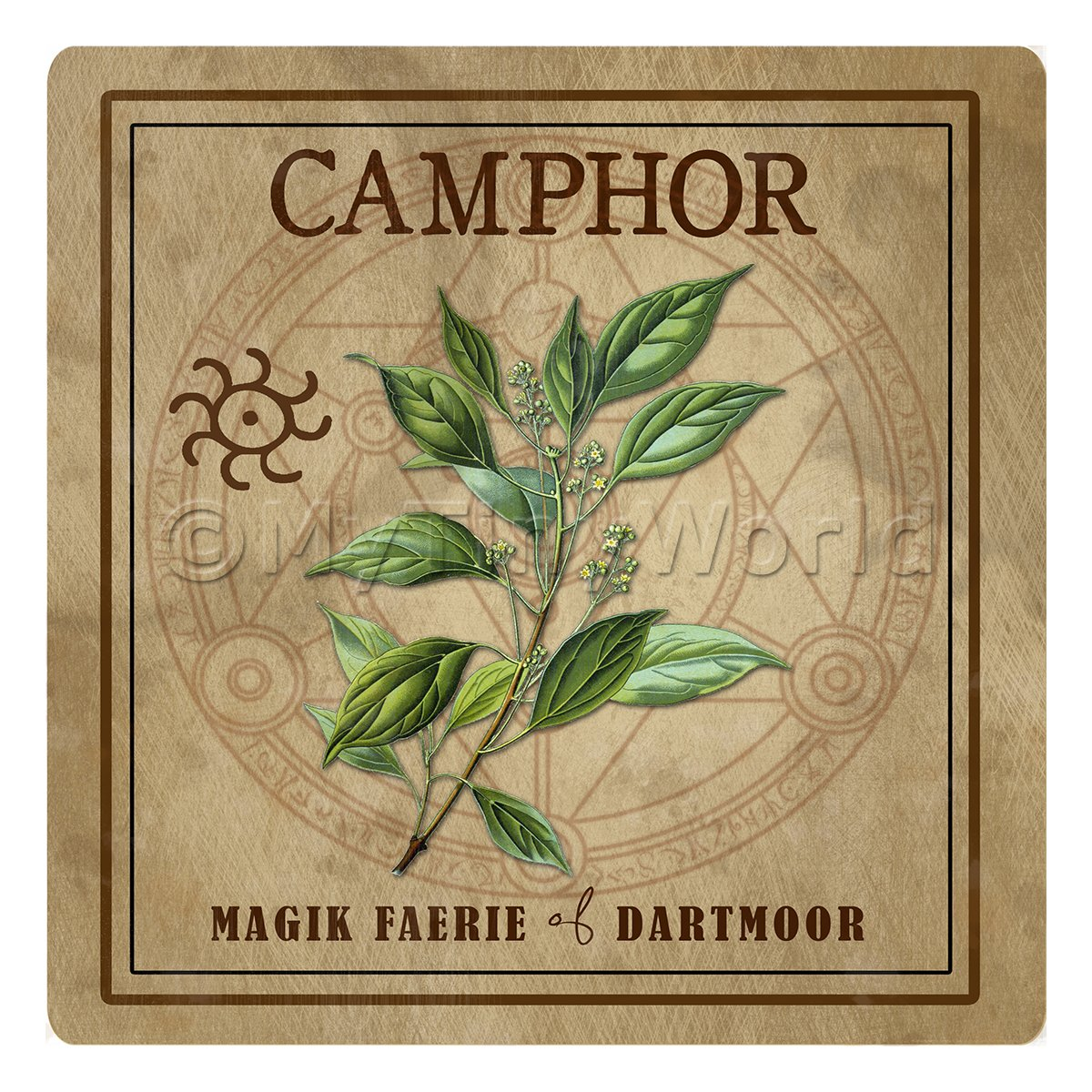 Dolls House Herbalist/Apothecary Square Camphor Herb Label