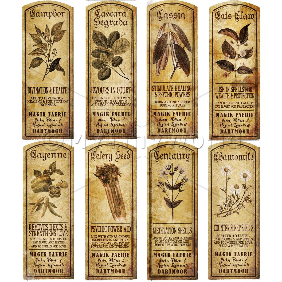 Long Herb Labels Sepia | Dolls House Miniature | MyTinyWorld