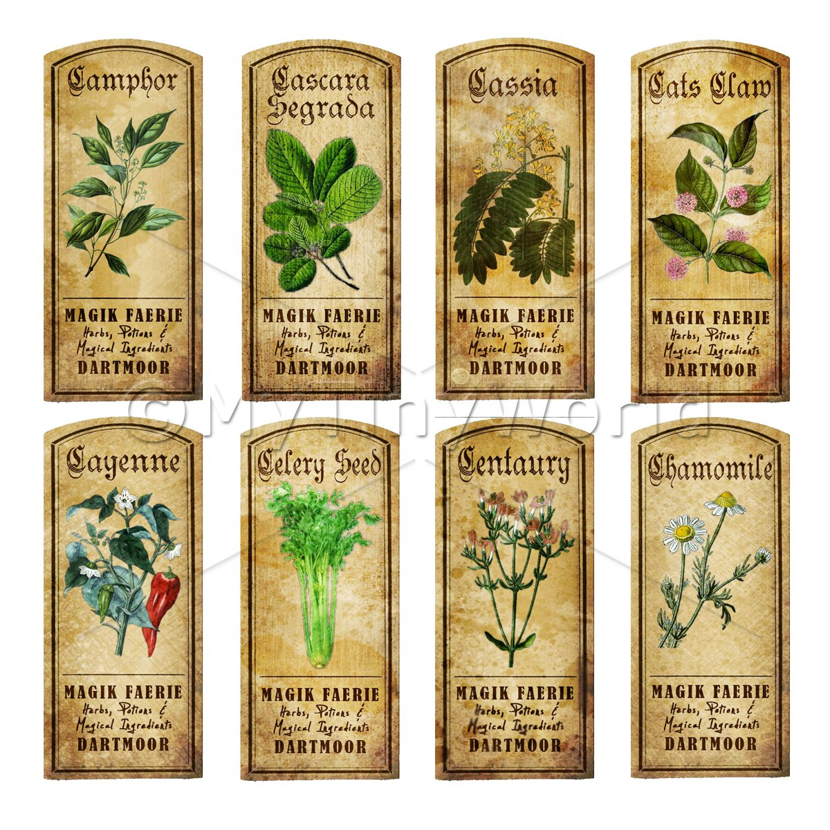 Dolls House Herbalist/Apothecary Short Herb Colour Label Set 3