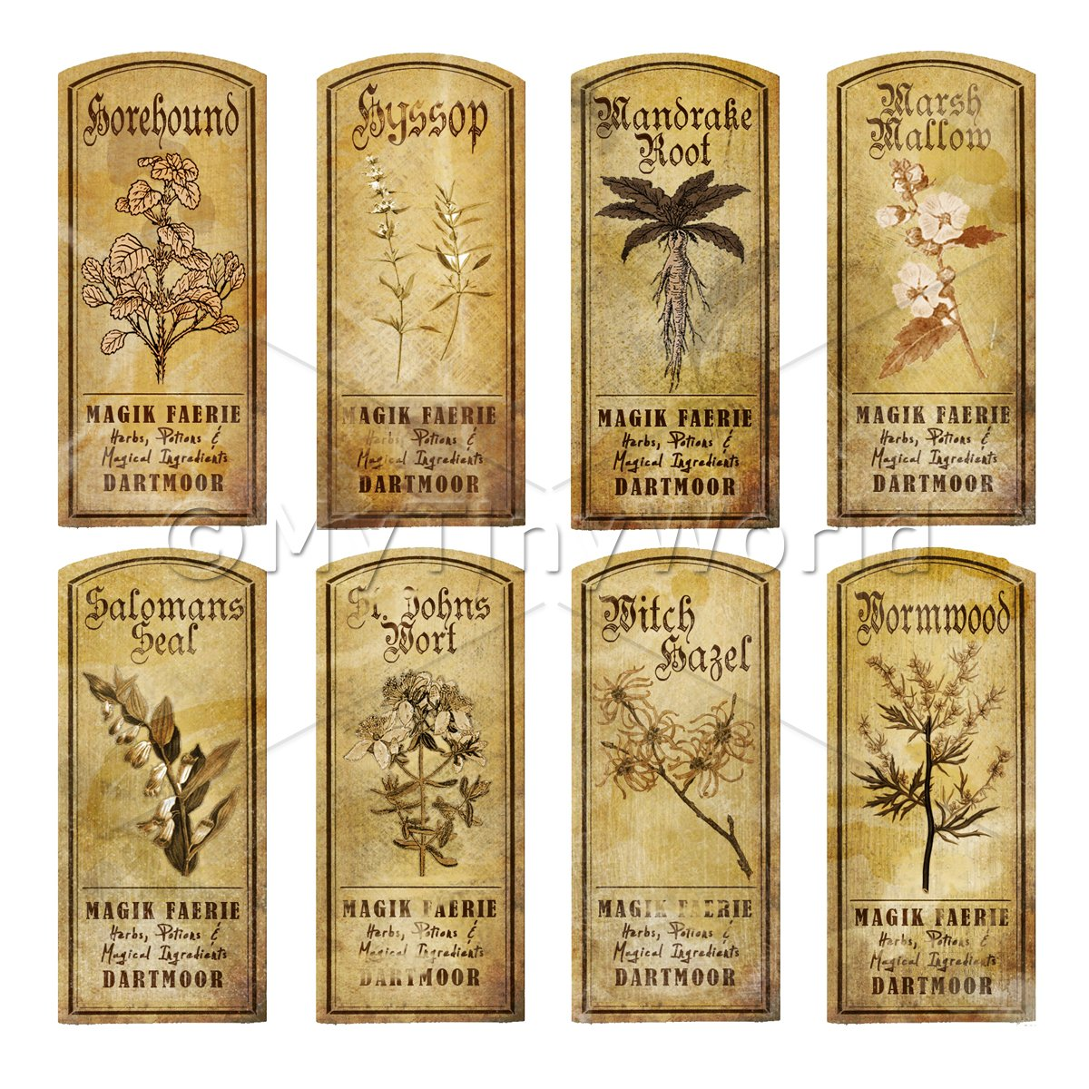 Dolls House Herbalist/Apothecary Short Herb Sepia Label Set 5