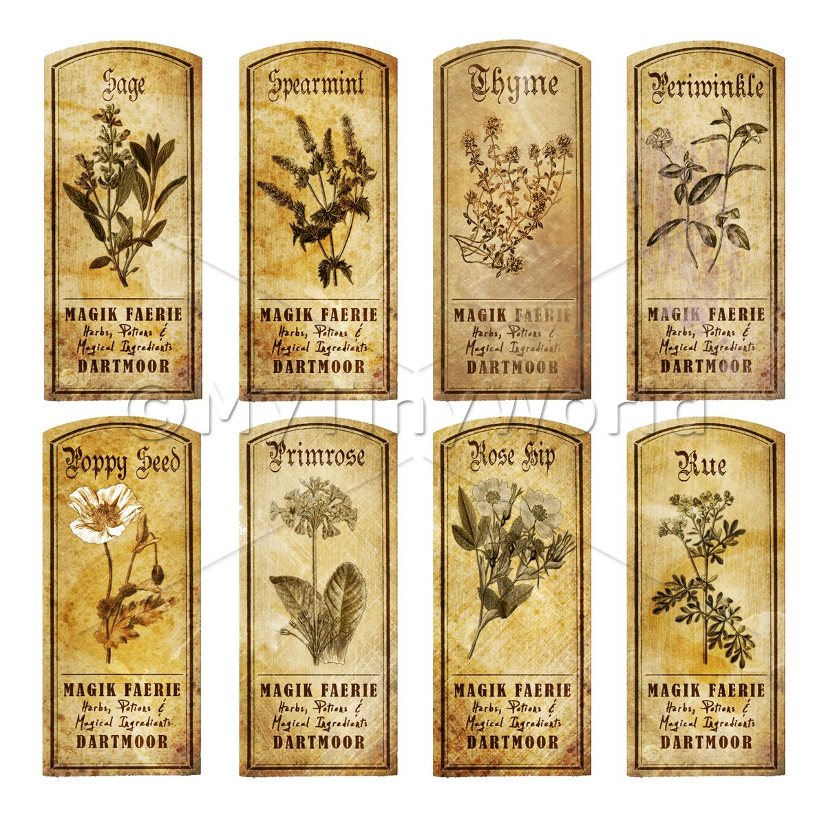 Short herb labels sepia dolls house miniature mytinyworld for Classic house labels