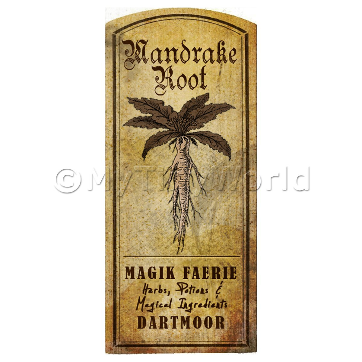 Dolls House Herbalist/Apothecary Mandrake Herb Short Sepia Label