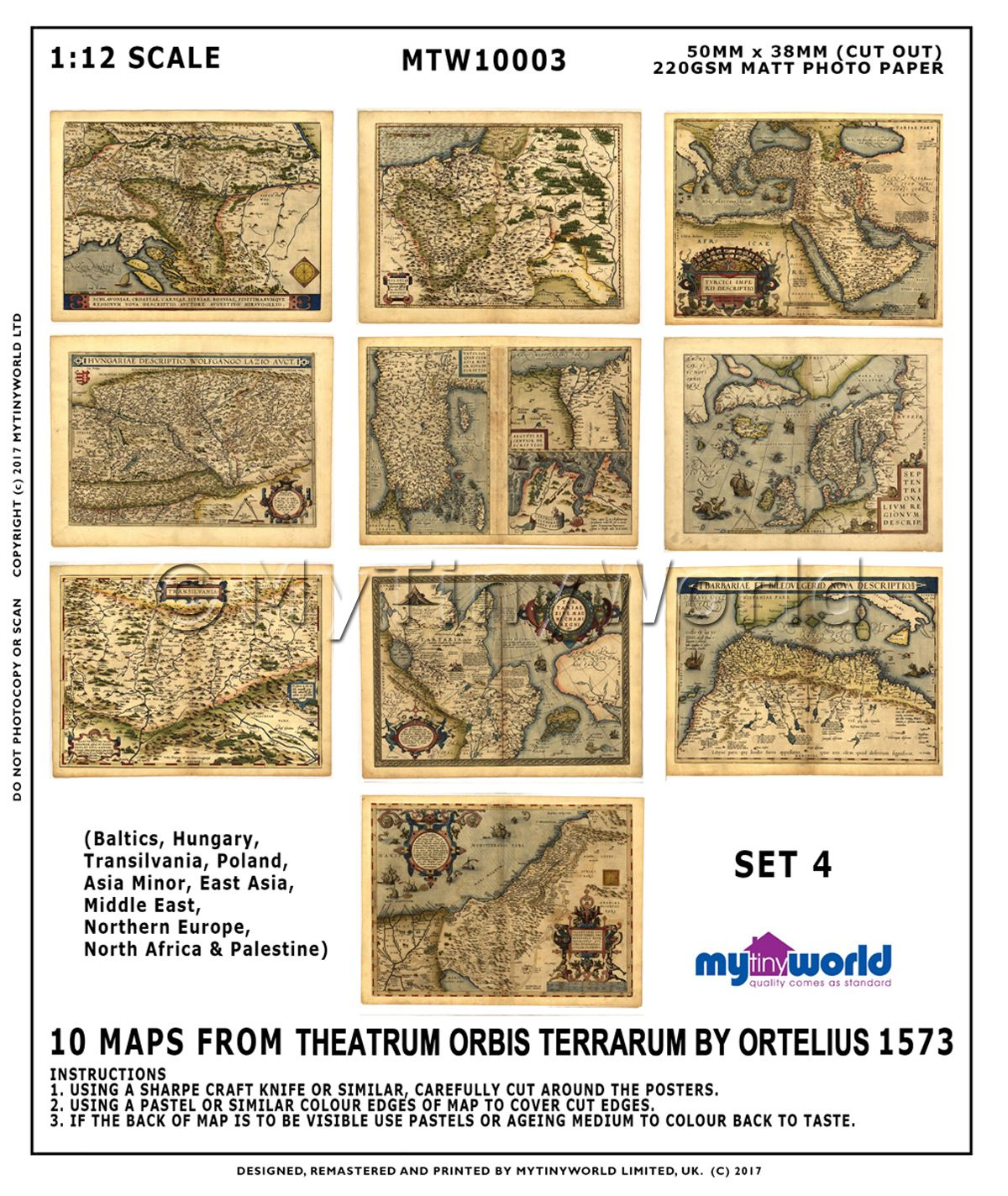Set Of 10 Dolls House Miniature Old Maps From The 1500s (OMS4)