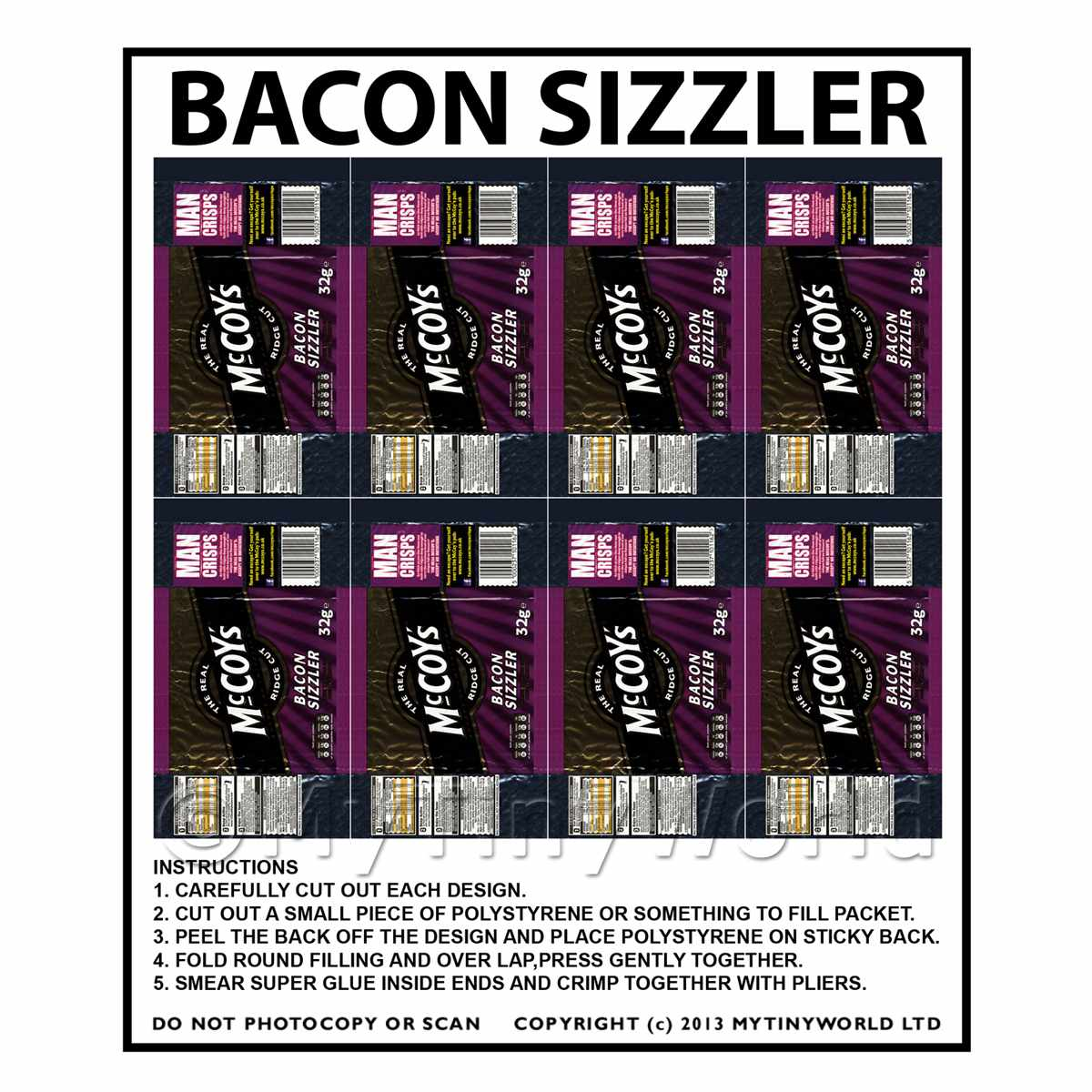 Dolls House Miniature Packaging Sheet of 8 McCoys Bacon Sizzler Crisps