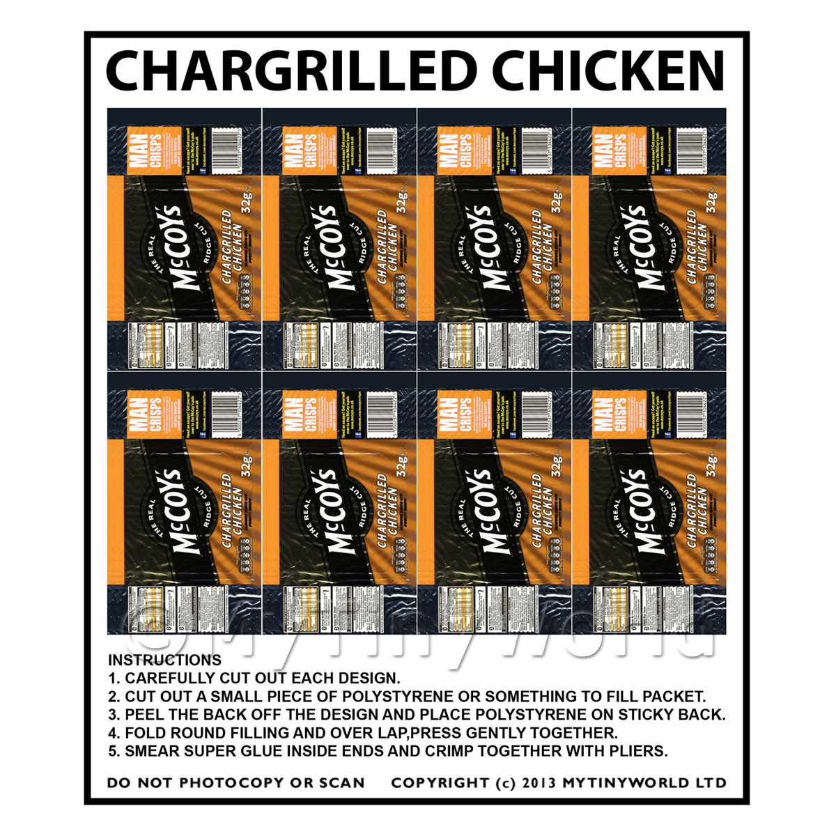 Dolls House Miniature Packaging Sheet of 8 McCoys Chicken Crisps
