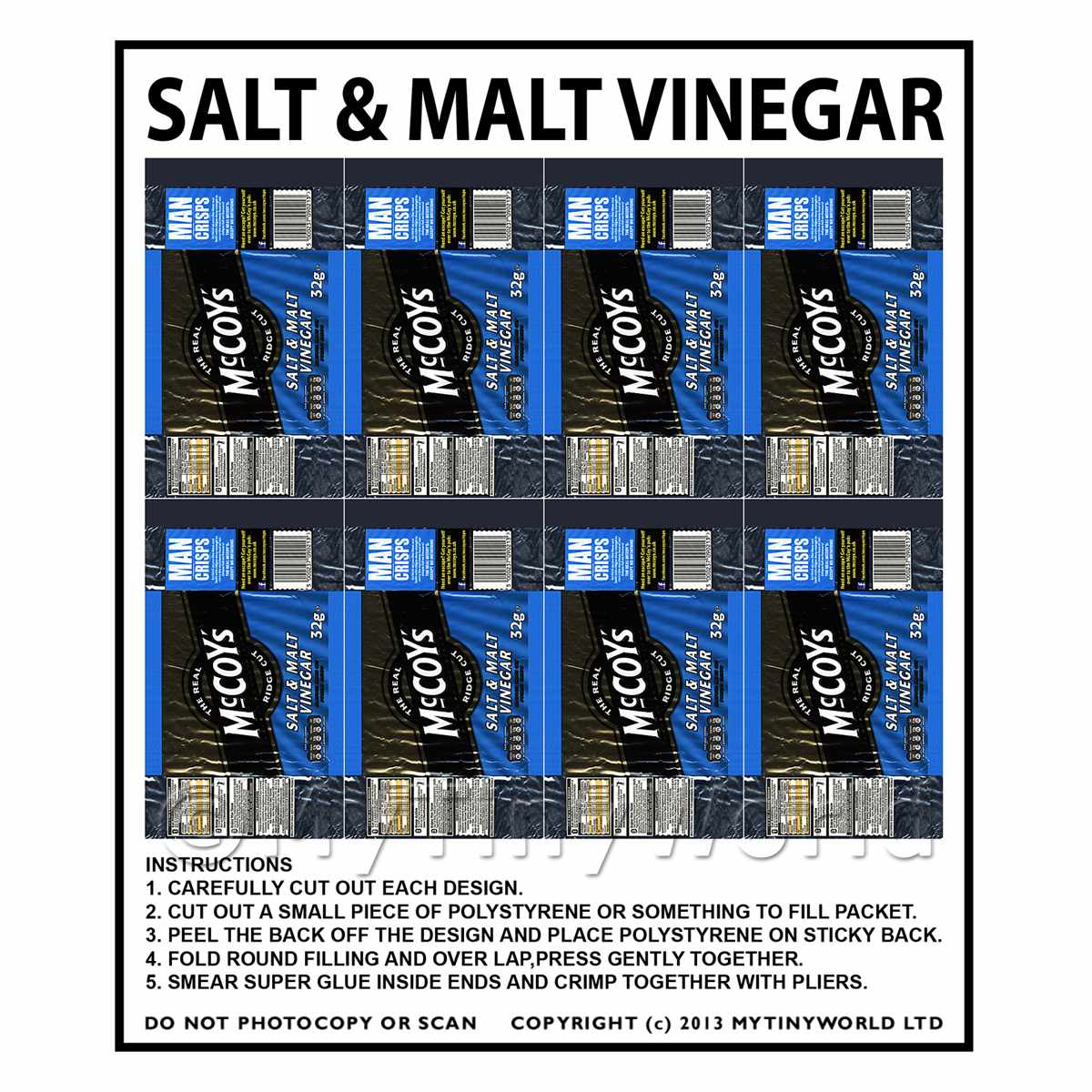 Dolls House Miniature Packaging Sheet of 8 McCoys Salt & Vinegar Crisps