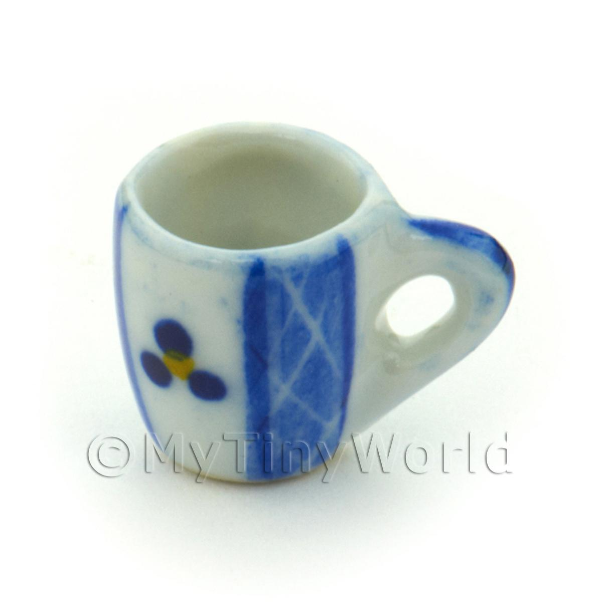 Dolls House Miniature Blue Lace Design Ceramic Soup Mug