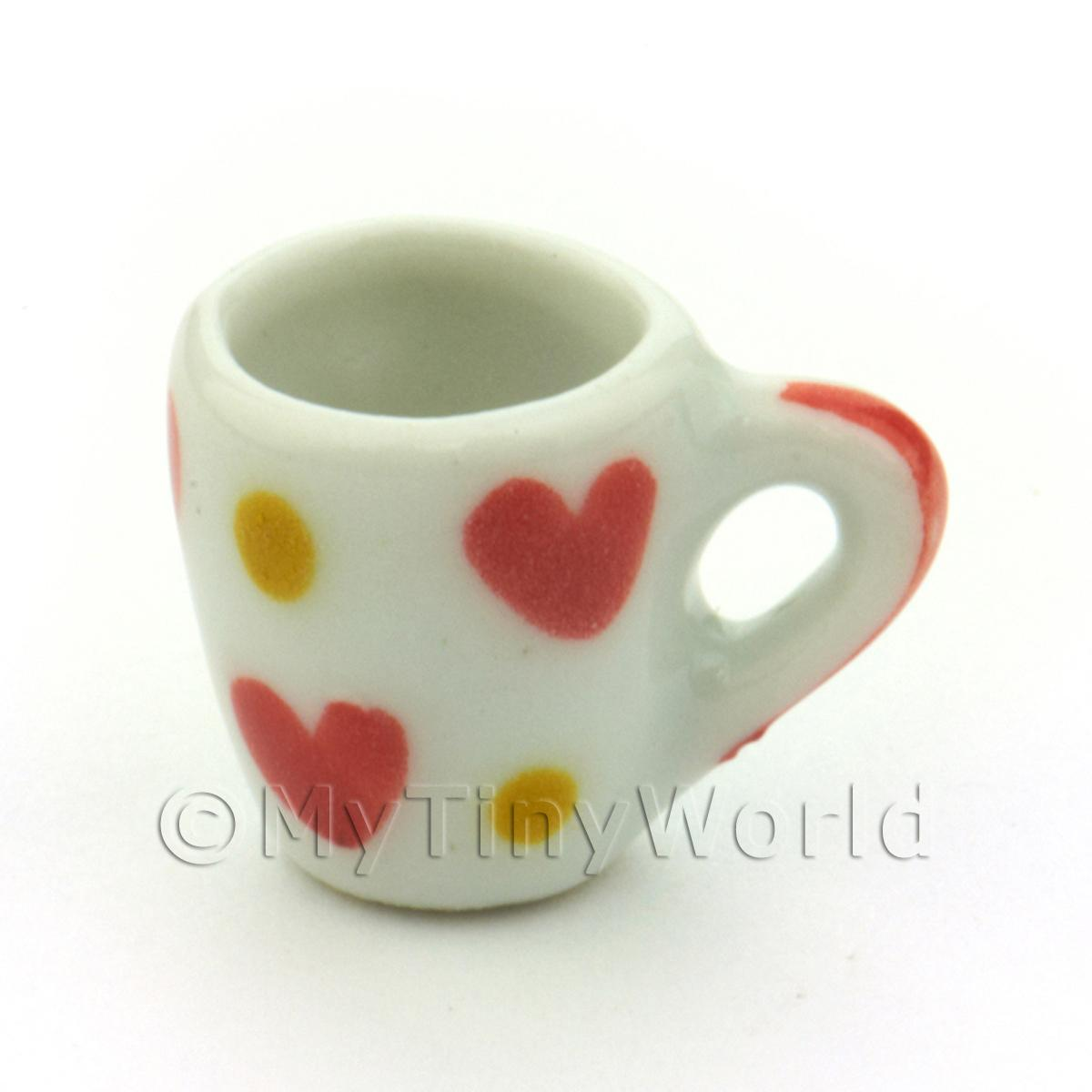 Dolls House Miniature Ceramic Soup Mug With Heart Pattern