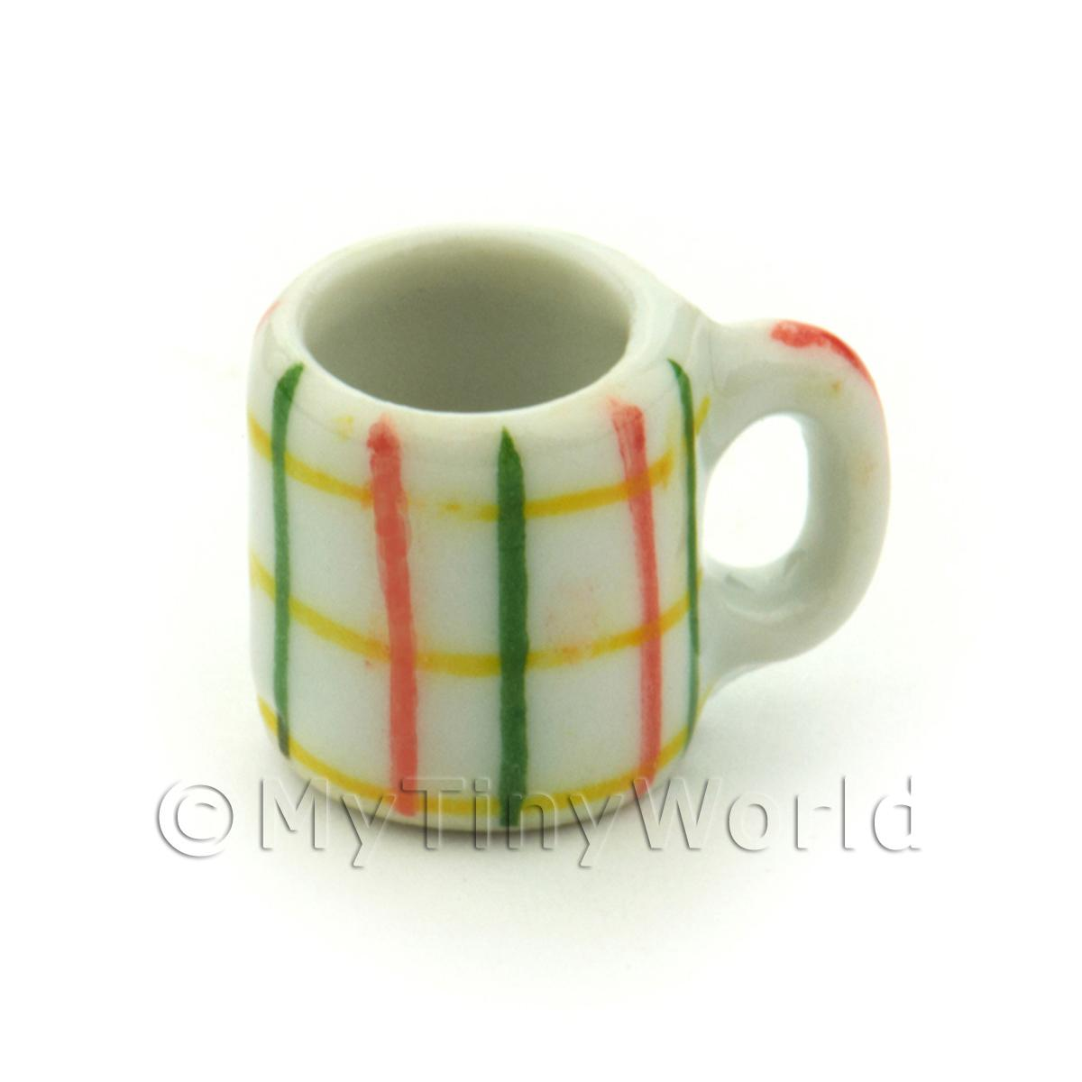 Dolls House Miniature Crosshatch Pattern Ceramic Coffee Mug