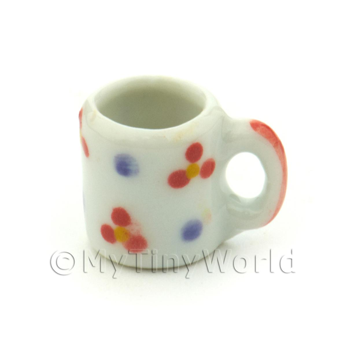 Dolls House Miniature Flower Design Ceramic Coffee Mug