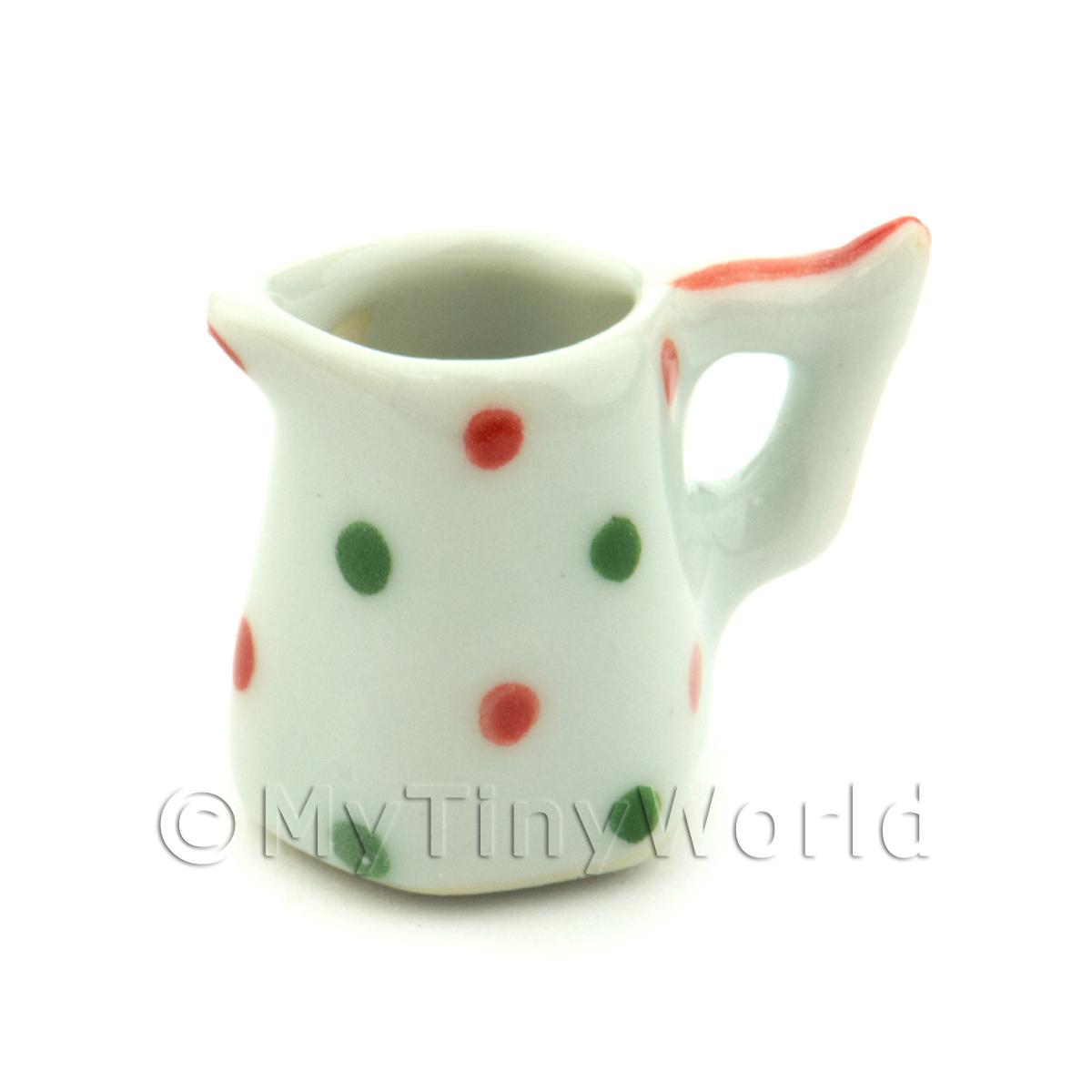 Dolls House Miniature Dotty Design Ceramic 6 Sided Water Jug
