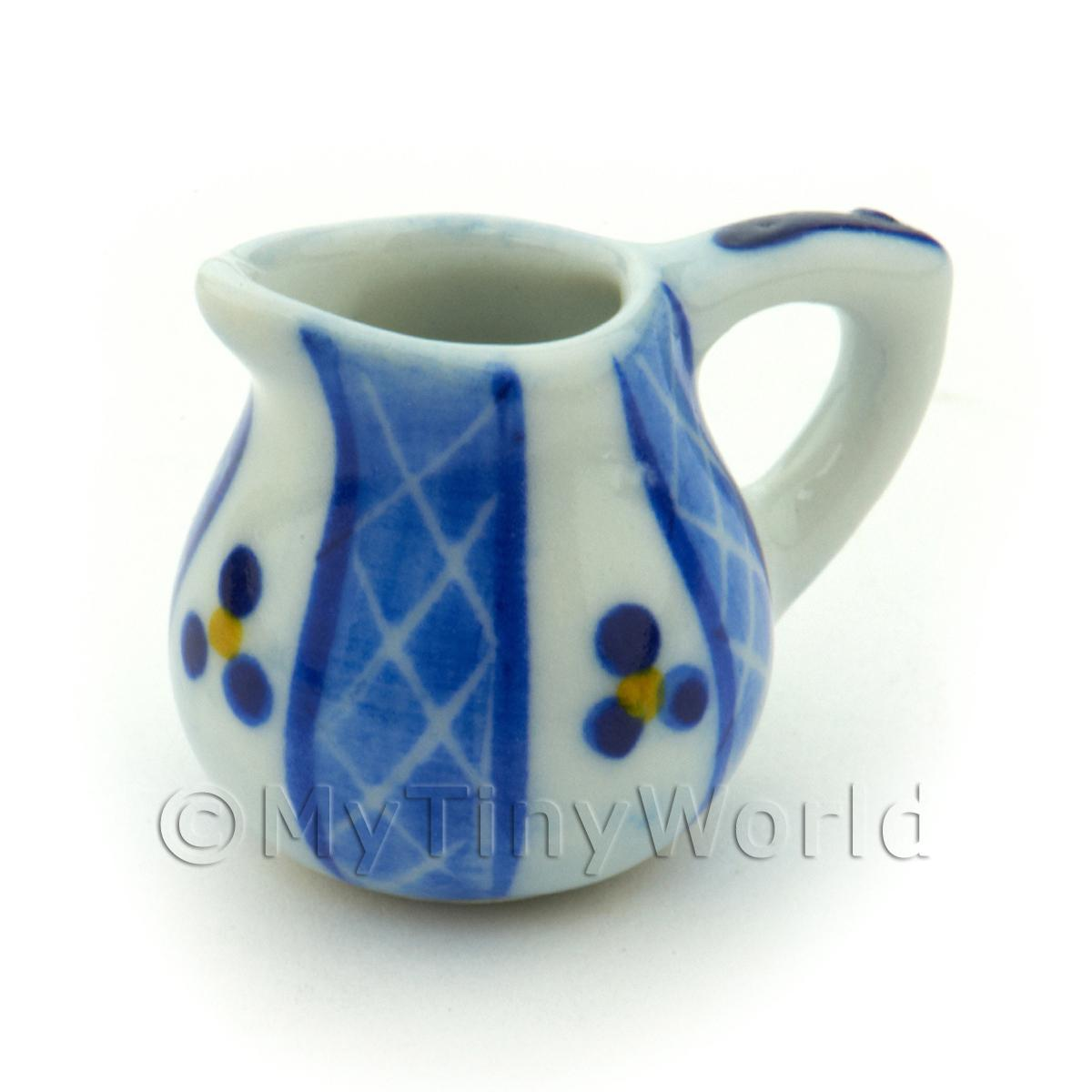Dolls House Miniature Blue Lace Design Ceramic Round Water Jug