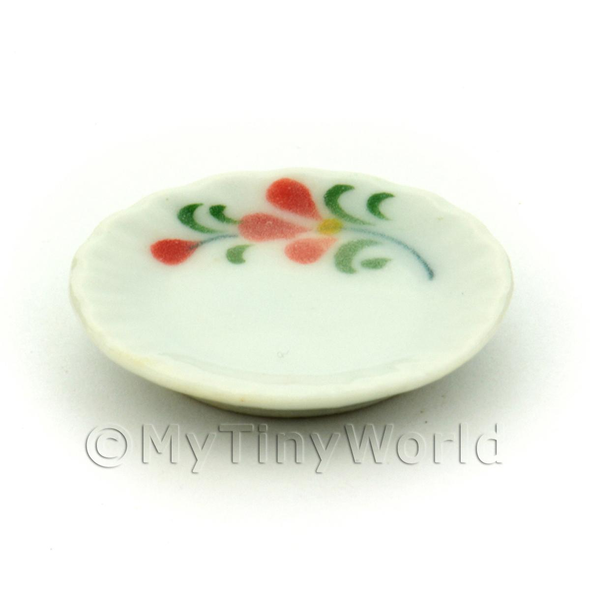 Dolls House Miniature Red Orchid Design 22mm Ceramic Plate