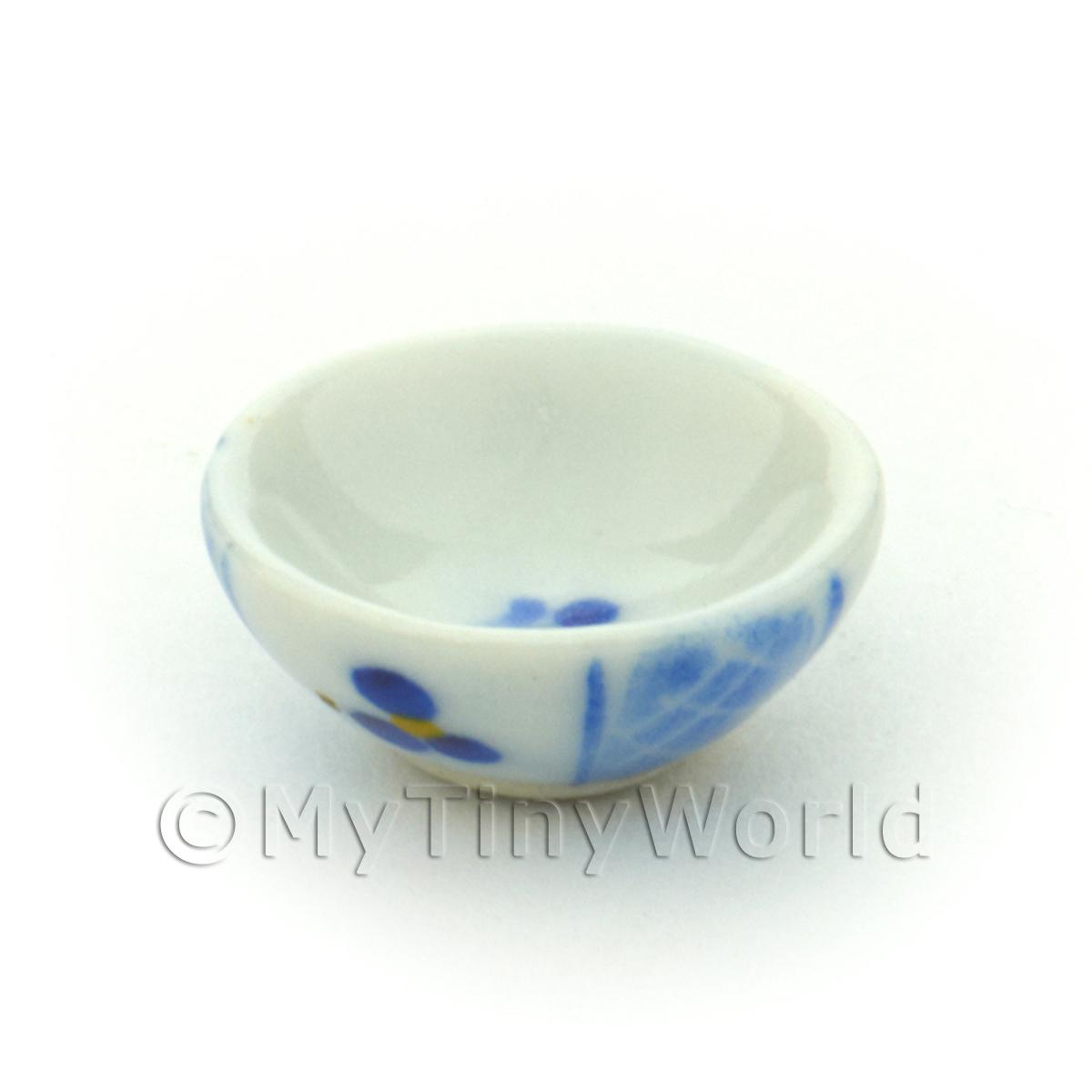 Dolls House Miniature 16mm Blue Lace Design Ceramic Bowl